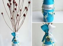 Biến chai thủy tinh cũ thành bình cắm hoa xinh