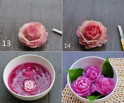 Tỉa củ cải thành hoa hồng