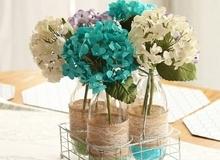 4 cách tái chế chai lọ làm bình hoa trang trí nhà xinh