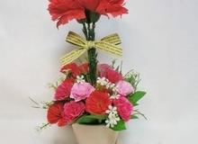 Khéo léo làm chậu hoa cẩm chướng chỉ với 2 cách đơn giản
