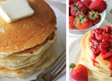 Pancake ăn kèm mứt dâu tây cho bữa sáng tuyệt ngon