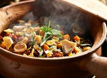 Món chay: Cơm gạo lức trộn nấm