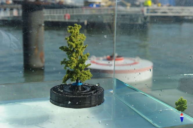 Cây cối và bồn cây trong dự án rừng nổi được tận dụng từ nguồn sẵn có