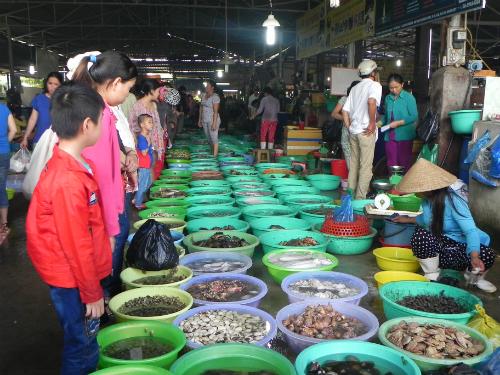 Ấn tượng đầu tiên khi vào chợ Hàng Dương là những thau hải sản được xếp chạy dọc khu chợ để khách tha hồ lựa món ưa thích. Ảnh: Thảo Nghi