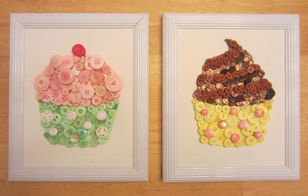 Trang trí nhà với tranh cupcake làm từ cúc áo 1