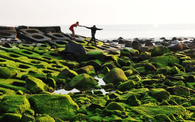 Nhiều bạn trẻ thích thú với bãi đá rêu xanh