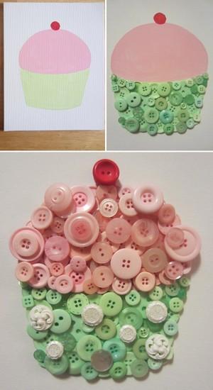 Trang trí nhà với tranh cupcake làm từ cúc áo 4