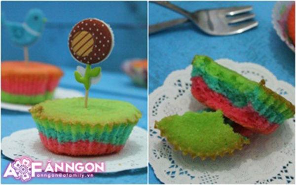 Thêm sắc màu cho Tết với bánh cupcake cầu vồng - Bánh Cupcake