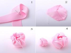 Làm hoa ruy-băng trang trí dây buộc tóc thật xinh 5