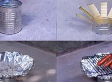 Tự chế bếp nướng ngoài trời chỉ với ống bơ và tờ giấy bạc