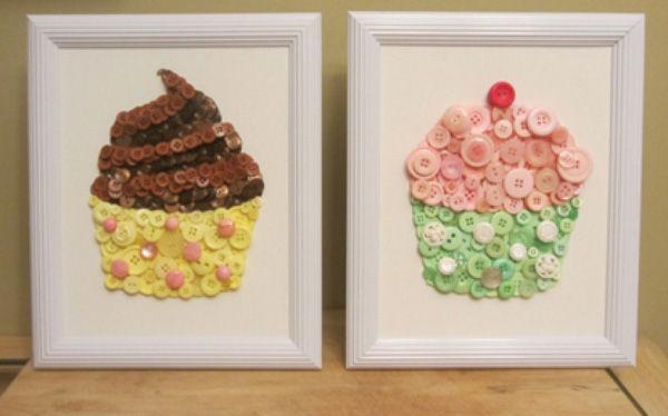 Trang trí nhà với tranh cupcake làm từ cúc áo - Bánh Cupcake