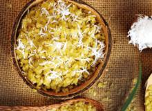Món ngon mùa Thu: Xôi cốm dừa thoảng hương cuối Thu