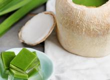 Món ngon mùa Hè: Rau câu trái dừa vị trà xanh
