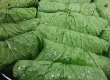 Cải xanh cuộn nhân thịt hấp