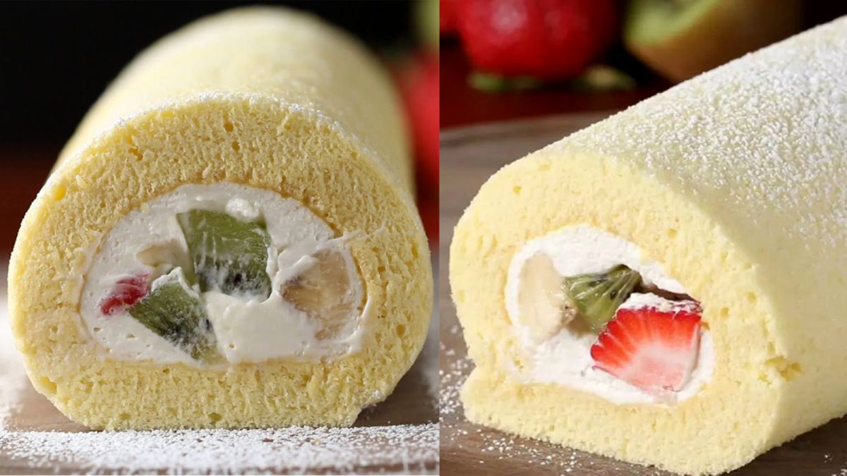 Làm bánh bông lan cuộn kem tươi trái cây nhiệt đới